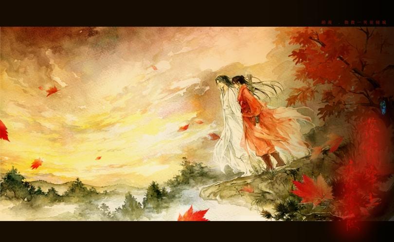 Lu Wei Wei Wei and Yi Xiao Nai He on the peak of Sunset Mountains. (Picture from Gu Man's weibo)
