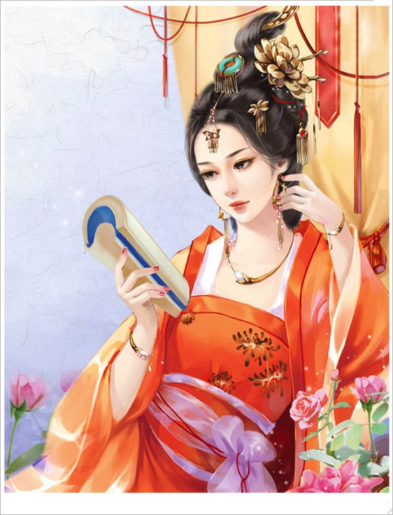Qu Qing Ju reading in her red dress.