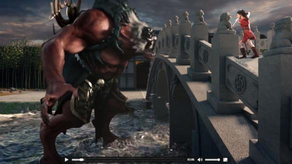 Wei Wei on a bridge against an ogre.